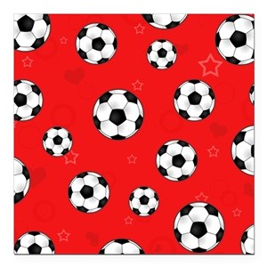 Cute Soccer Ball Print Square Car Magnet 3 X 3