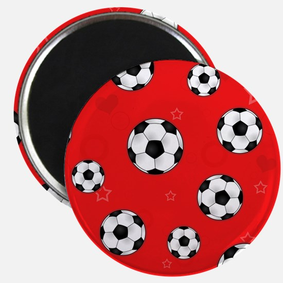 Cute Soccer Ball Print - Red Magnet