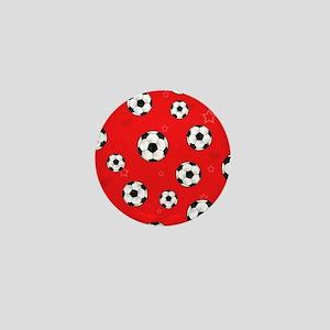 Cute Soccer Ball Print - Red Mini Button