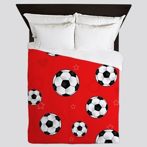 Cute Soccer Ball Print - Red Queen Duvet