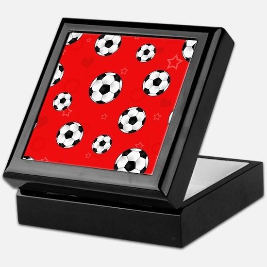 Cute Soccer Ball Print - Red Keepsake Box