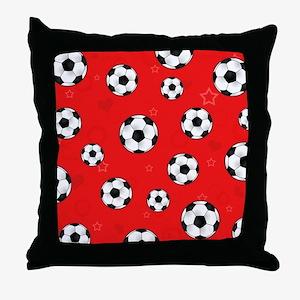 Cute Soccer Ball Print - Red Throw Pillow