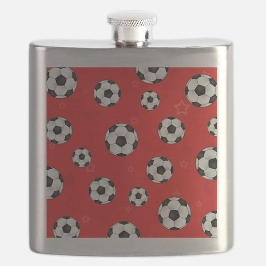 Cute Soccer Ball Print - Red Flask