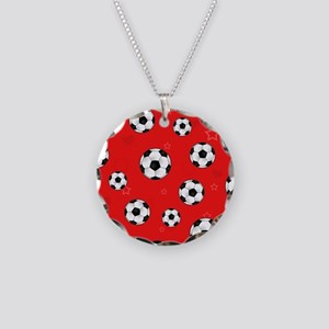 Cute Soccer Ball Print - Red Necklace Circle Charm