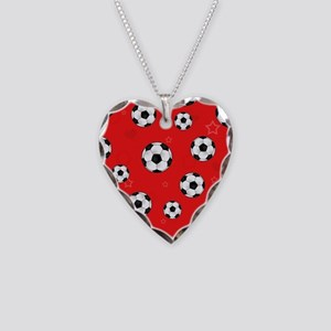 Cute Soccer Ball Print - Red Necklace Heart Charm