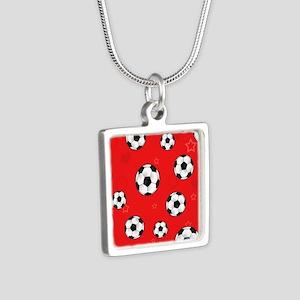 Cute Soccer Ball Print - R Silver Square Necklace