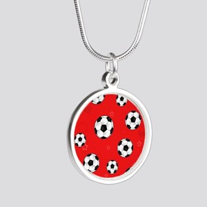 Cute Soccer Ball Print - Red Silver Round Necklace