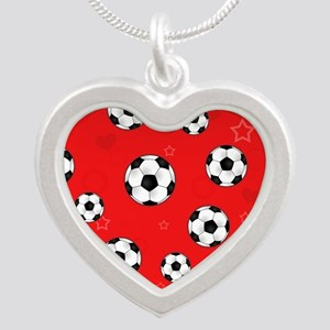 Cute Soccer Ball Print - Red Silver Heart Necklace