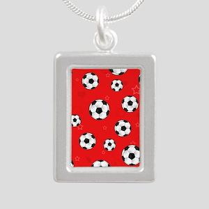 Cute Soccer Ball Print - Silver Portrait Necklace