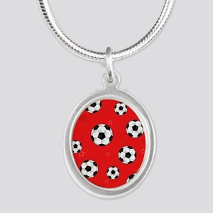 Cute Soccer Ball Print - Red Silver Oval Necklace