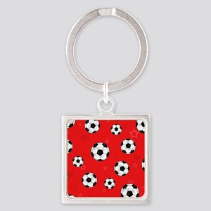 Cute Soccer Ball Print - Red Square Keychain