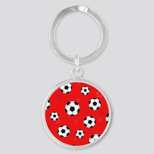 Cute Soccer Ball Print - Red Round Keychain