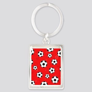 Cute Soccer Ball Print - Red Portrait Keychain