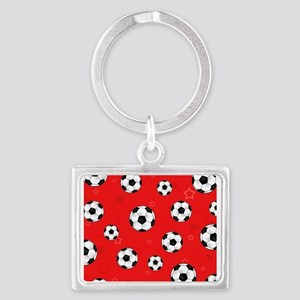 Cute Soccer Ball Print - Red Landscape Keychain