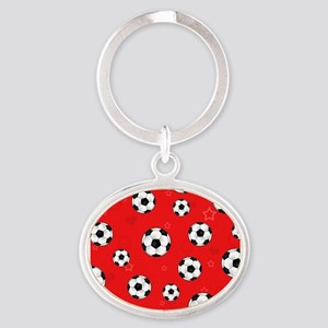 Cute Soccer Ball Print - Red Oval Keychain