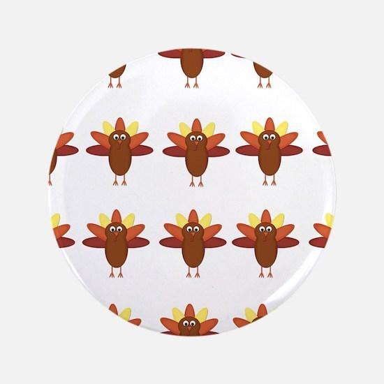 "Cute Thanksgiving Turkeys 3.5"" Button"