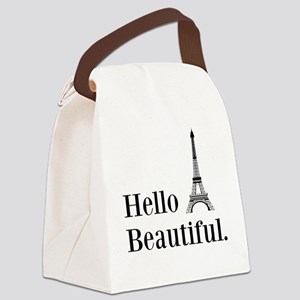 Hello Beautiful Eiffel Tower Canvas Lunch Bag