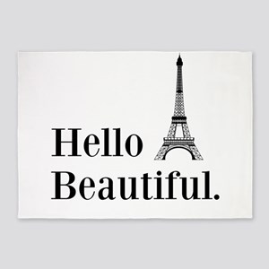 Hello Beautiful Eiffel Tower 5'x7'Area Rug