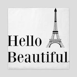 Hello Beautiful Eiffel Tower Queen Duvet