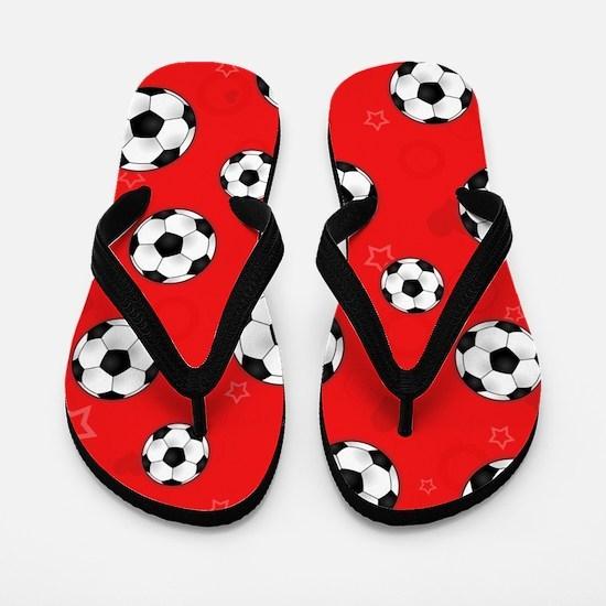 Cute Soccer Ball Print - Red Flip Flops