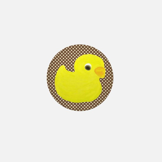 Rubber Duck on Brown and White Mini Button