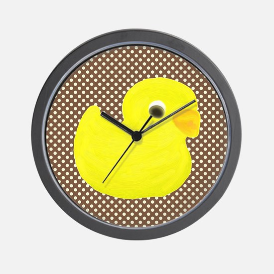 Rubber Duck on Brown and White Wall Clock