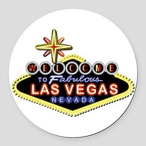 Fabulous Las Vegas Round Car Magnet