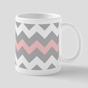 Pink And Gray Chevron Stripes Mug