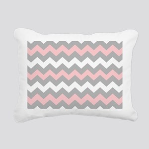 Pink And Gray Chevron Stripes Rectangular Canvas P