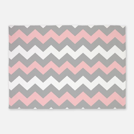 Pink And Gray Chevron Stripes 5 X7 Area Rug