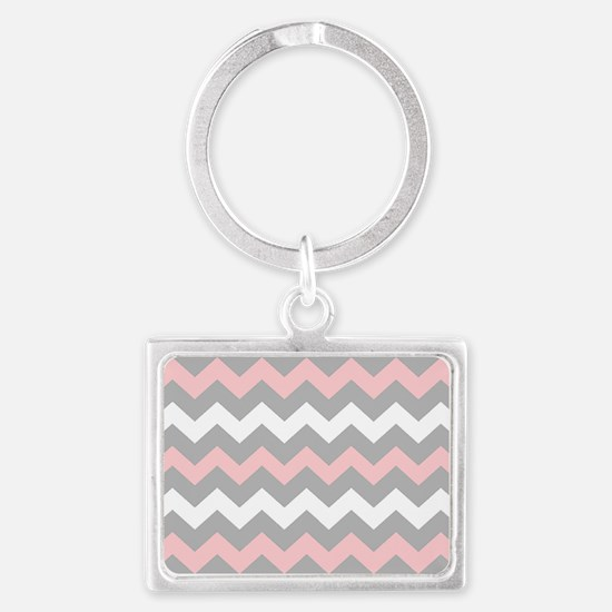 Pink And Gray Chevron Stripes Landscape Keychain