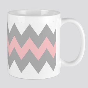 Pink And Gray Chevron Stripes Mug