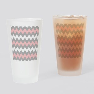 Pink And Gray Chevron Stripes Drinking Glass
