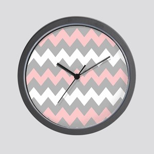 Pink And Gray Chevron Stripes Wall Clock