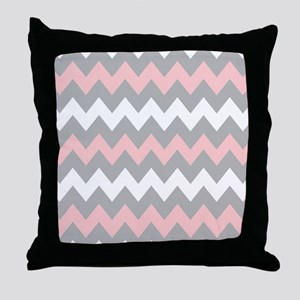 Pink And Gray Chevron Stripes Throw Pillow