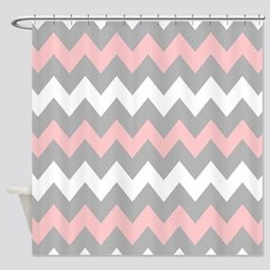Pink And Gray Chevron Stripes Shower Curtain