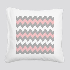 Pink And Gray Chevron Stripes Square Canvas Pillow