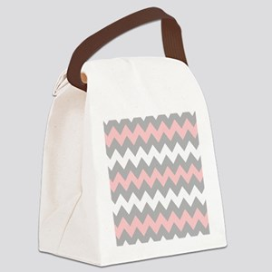 Pink And Gray Chevron Stripes Canvas Lunch Bag