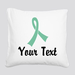 Personalized Light Green Ribb Square Canvas Pillow