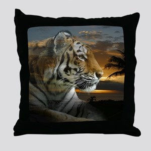 Tiger Sunset Throw Pillow