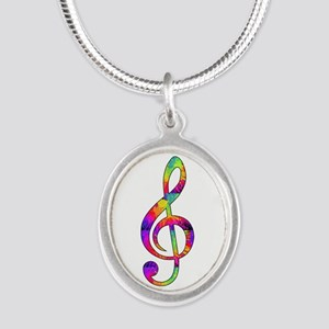 Treble Clef - paint splattere Silver Oval Necklace