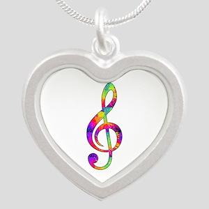 Treble Clef - paint splatter Silver Heart Necklace