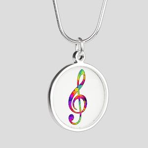 Treble Clef - paint splatter Silver Round Necklace
