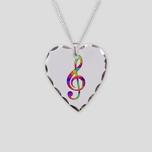 Treble Clef - paint splattere Necklace Heart Charm