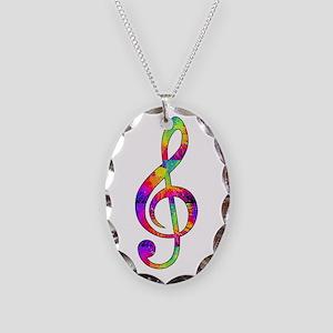 Treble Clef - paint splattered Necklace Oval Charm