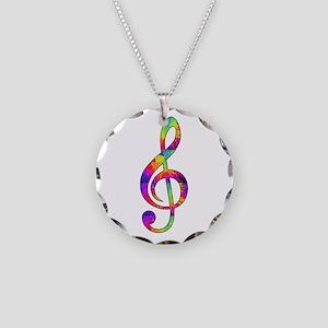 Treble Clef - paint splatter Necklace Circle Charm