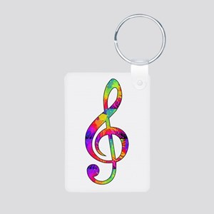 Treble Clef - paint splatt Aluminum Photo Keychain