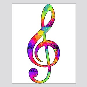 Treble Clef - Paint Splattered Small Poster