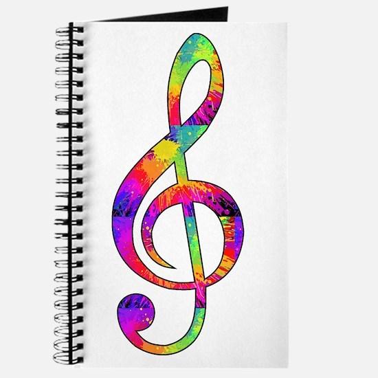 Treble Clef - paint splattered Journal