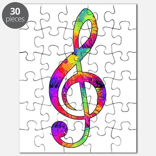 Treble Clef - Paint Splattered Puzzle